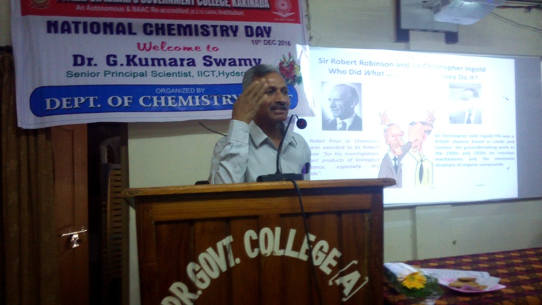 Invited talk by Dr. G. Kumara Swamy, Principal senior Scientist, IICT, Hyderabad on National Chemistry Day on 10th December, 2016