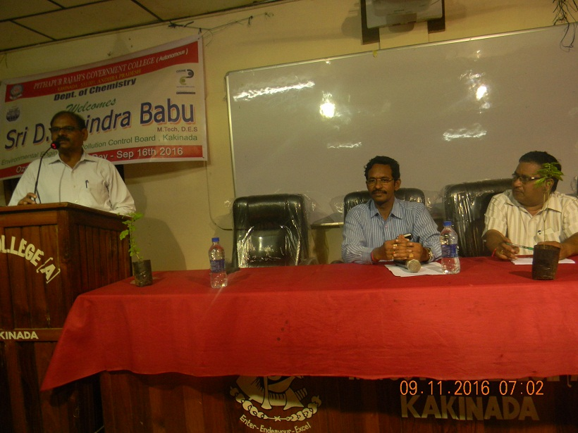 invited talk by Dr.B.Ravindra Babu, Scientist AP Pollution control board on 16th  September,2016